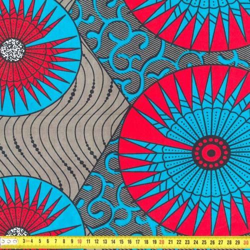 Wax - Tissu africain bleu et rouge 235