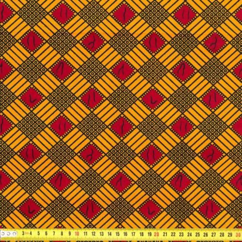 Wax - Tissu africain losange jaune 232