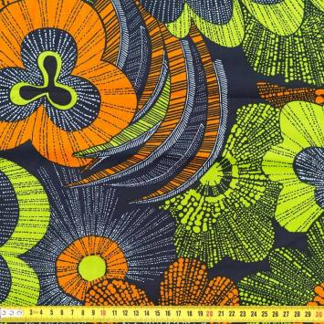 Wax - Tissu africain motif coq orange et vert 229