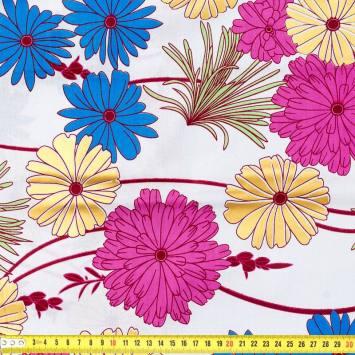 Wax - Tissu africain enduit fleur or et rose 228