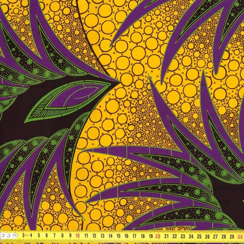 Wax - Tissu africain ocre et violet 244
