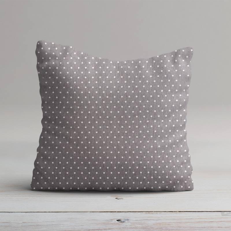 Coton cretonne gris pois blanc
