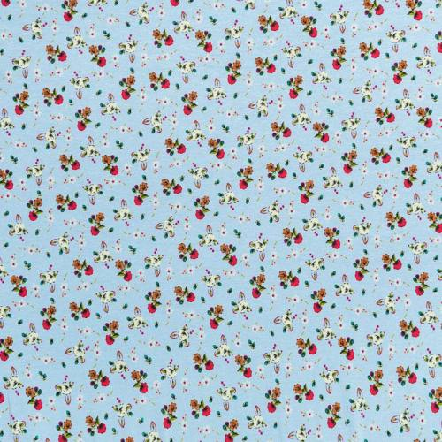Tissu viscose bleu motif petites fleurs des champs