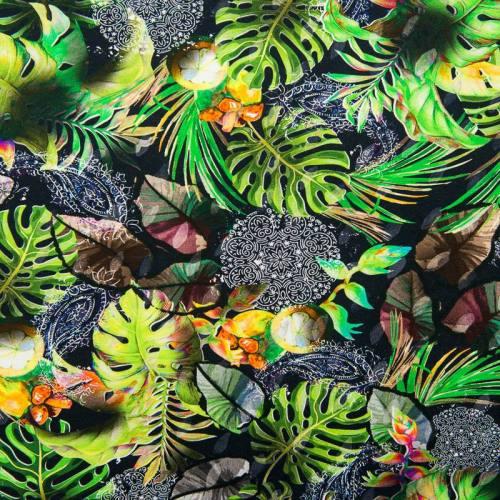 Jersey noir motif tropical