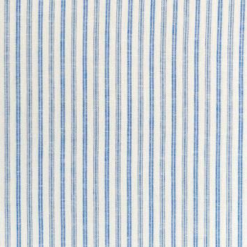 Lin viscose écru à rayures grises et bleues