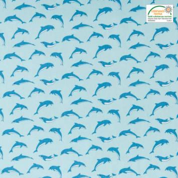 Coton bleu imprimé dauphins bleus