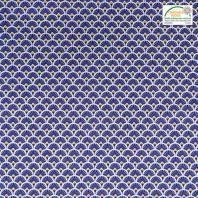 Coton imprimé éventail bleu indigo et ocre