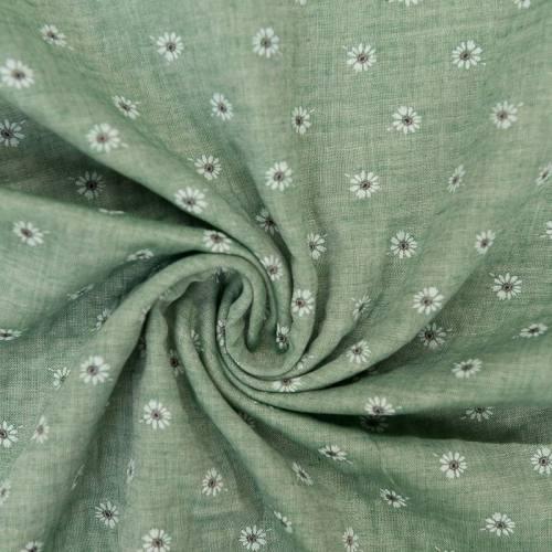 Coton aspect lin vert motif fleurs