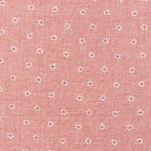 Coton aspect lin rose motif fleurs