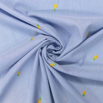 Tissu à rayures bleu broderies ananas