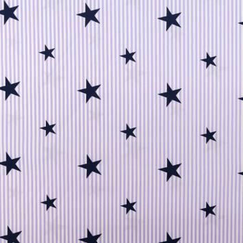 Popeline de coton rayée lavande et blanche motif étoile