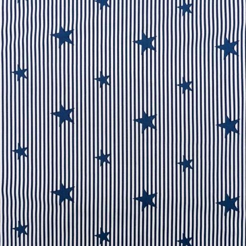 Popeline de coton rayée bleu marine et blanche motif étoile