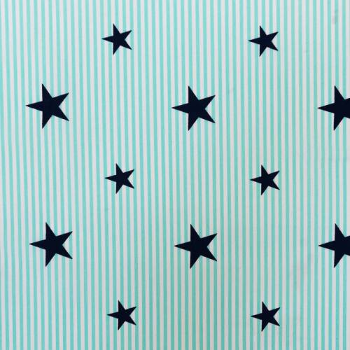 Popeline de coton rayée vert menthe et blanche motif étoile