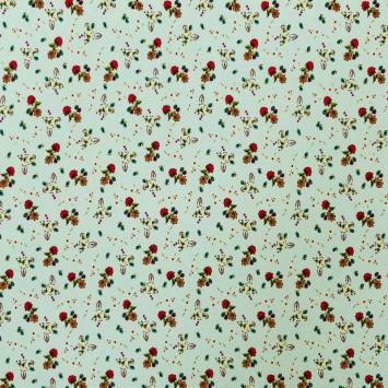Tissu viscose vert menthe motif petite fleurs des champs
