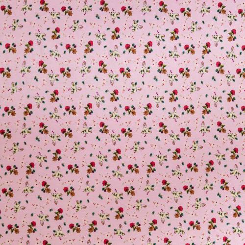 Tissu viscose rose motif petite fleurs des champs