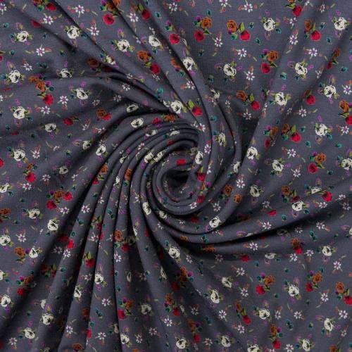 Tissu viscose gris foncé motif petite fleurs des champs