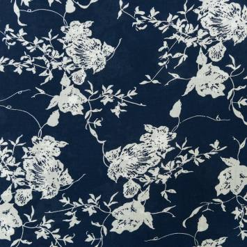 Tissu viscose bleu marine motif grosse fleur