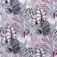 Tissu viscose stretch écru motif jungle rose