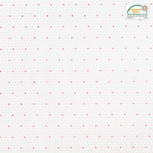 coupon - Coupon 49x50cm - Coton blanc motif saya rose