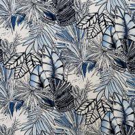 Tissu viscose stretch écru motif jungle bleu