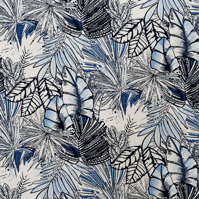 Tissu Viscose Stretch Ecru Motif Jungle Bleu