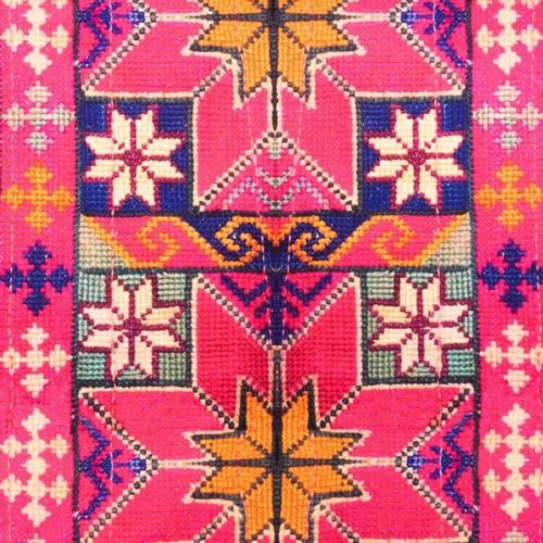 Toile coton qualité supérieure rose motif géométrique