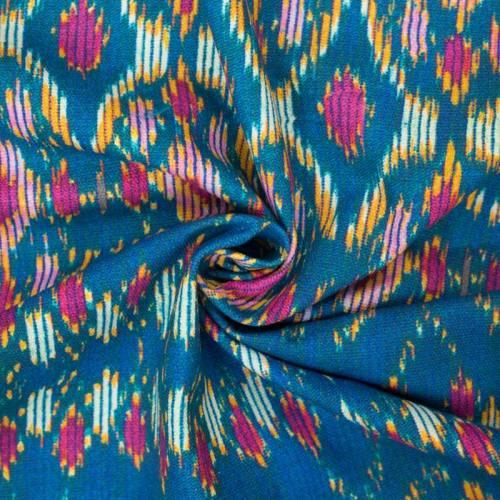 Toile coton grande largeur qualité supérieure bleu motif ethni-color