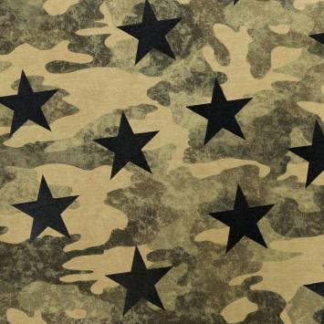 Tissu molleton french terry kaki imprimé camouflage et étoiles