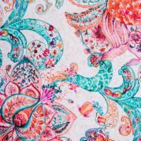 Toile coton grande largeur motif fleur aquarelle style cachemire