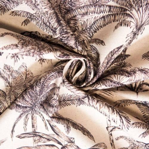 Toile coton-lin grande largeur aspect lin motif palmier