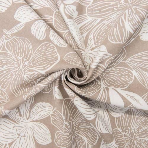 Tissu viscose lin beige imprimé hibiscus