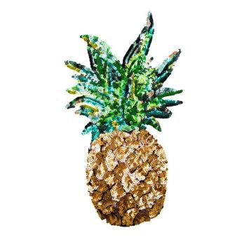 Ecusson sequins ananas XL thermocollant