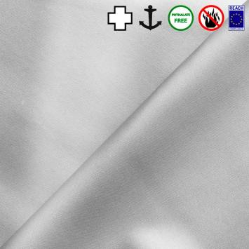 Simili cuir celeste métallisé gris perle
