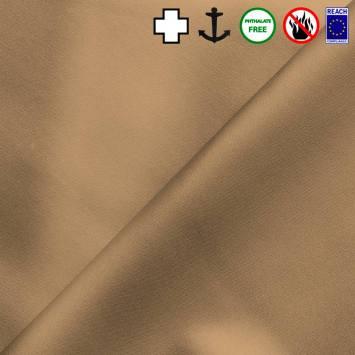 Simili cuir celeste métallisé sable
