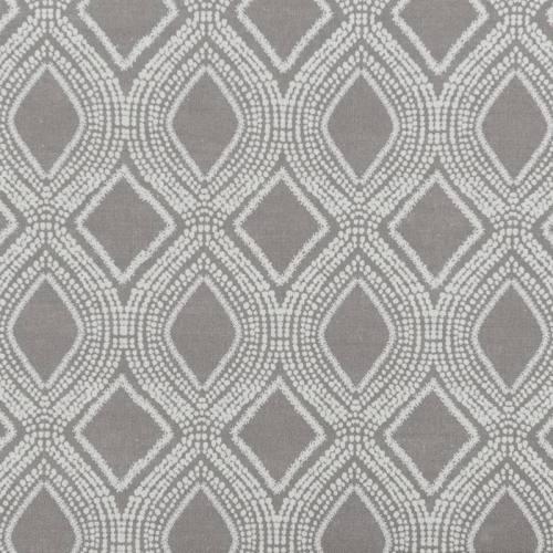 Toile polycoton aspect lin gris tourterelle motif losanges et points