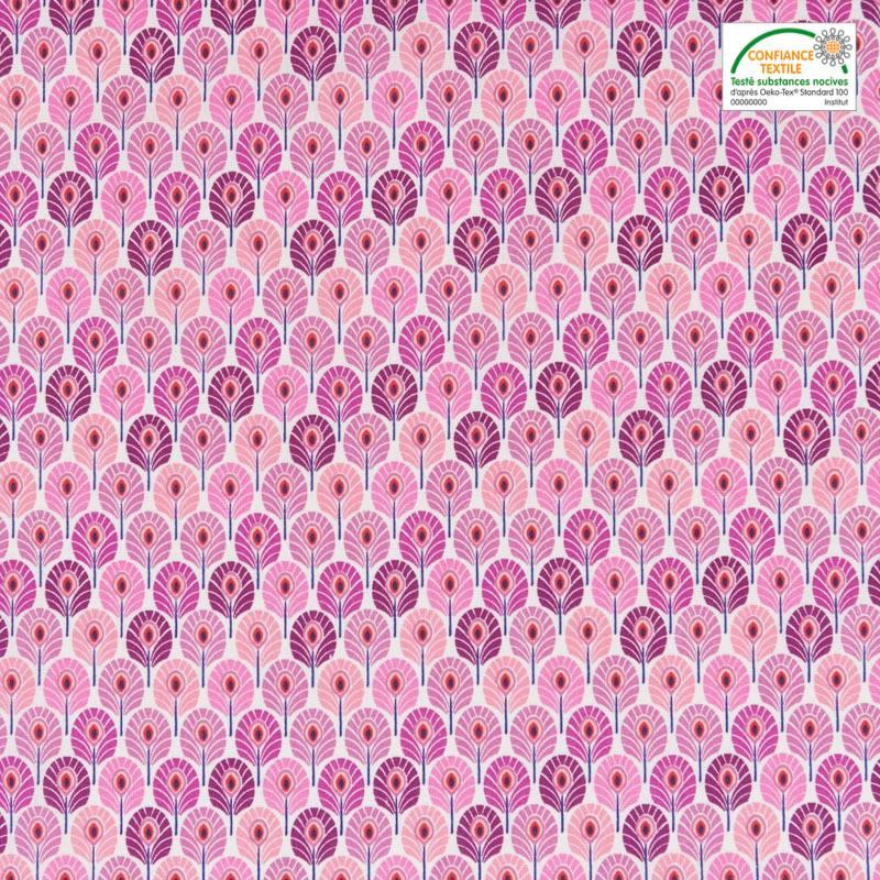 Coton rose imprimé plume de paon