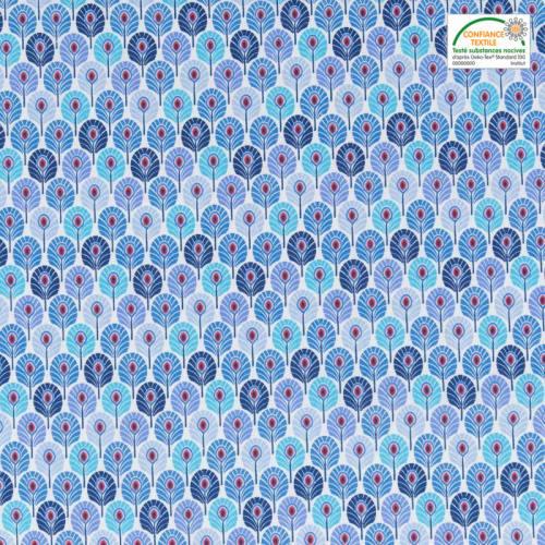 Coton bleu imprimé plume de paon