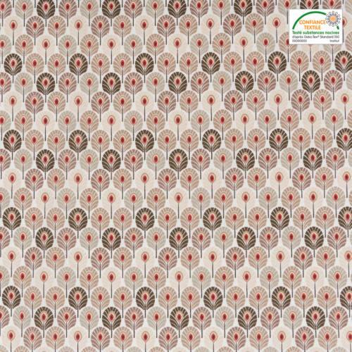 Coton taupe imprimé plume de paon