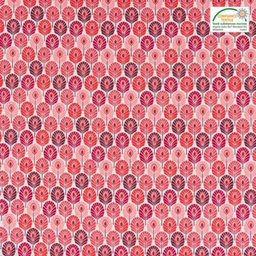Coton rouge imprimé plume de paon