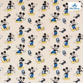 Coton Disney à rayures beige motif Mickey