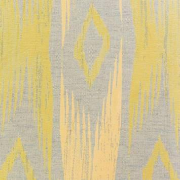 Jacquard jaune motif bande abstraite