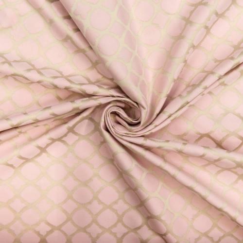 Jacquard satiné double face rose pastel motif mosaïque