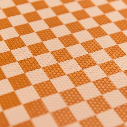 Simili cuir damier orange et chair