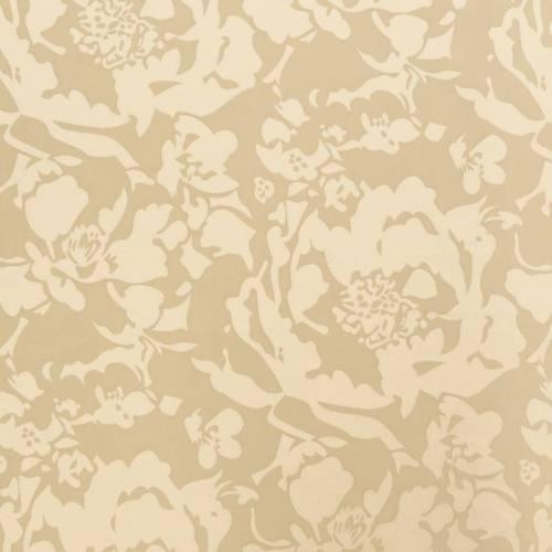 Jacquard satiné double face beige motif floral