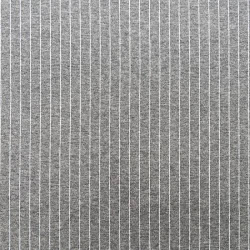 Jersey gris clair motif rayure blanche