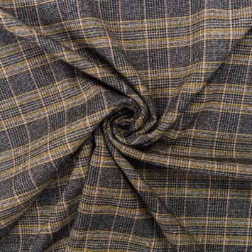Tissu tartan stretch gris et jaune
