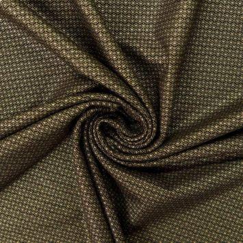 Jersey épais noir motif petit losange doré