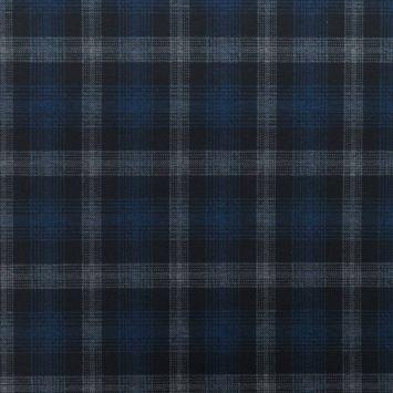 Jersey stretch noir motif tartan bleu