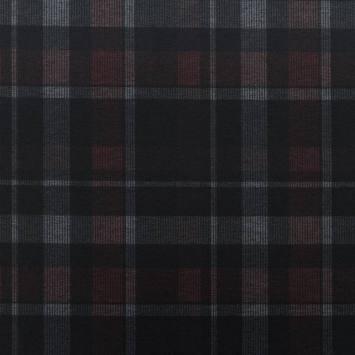 Jersey stretch noir motif tartan rouge