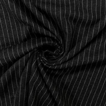 Jersey noir motif rayure blanche